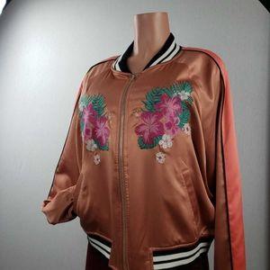 Mossimo Womens Varsity Jacket Orange Floral  Palm